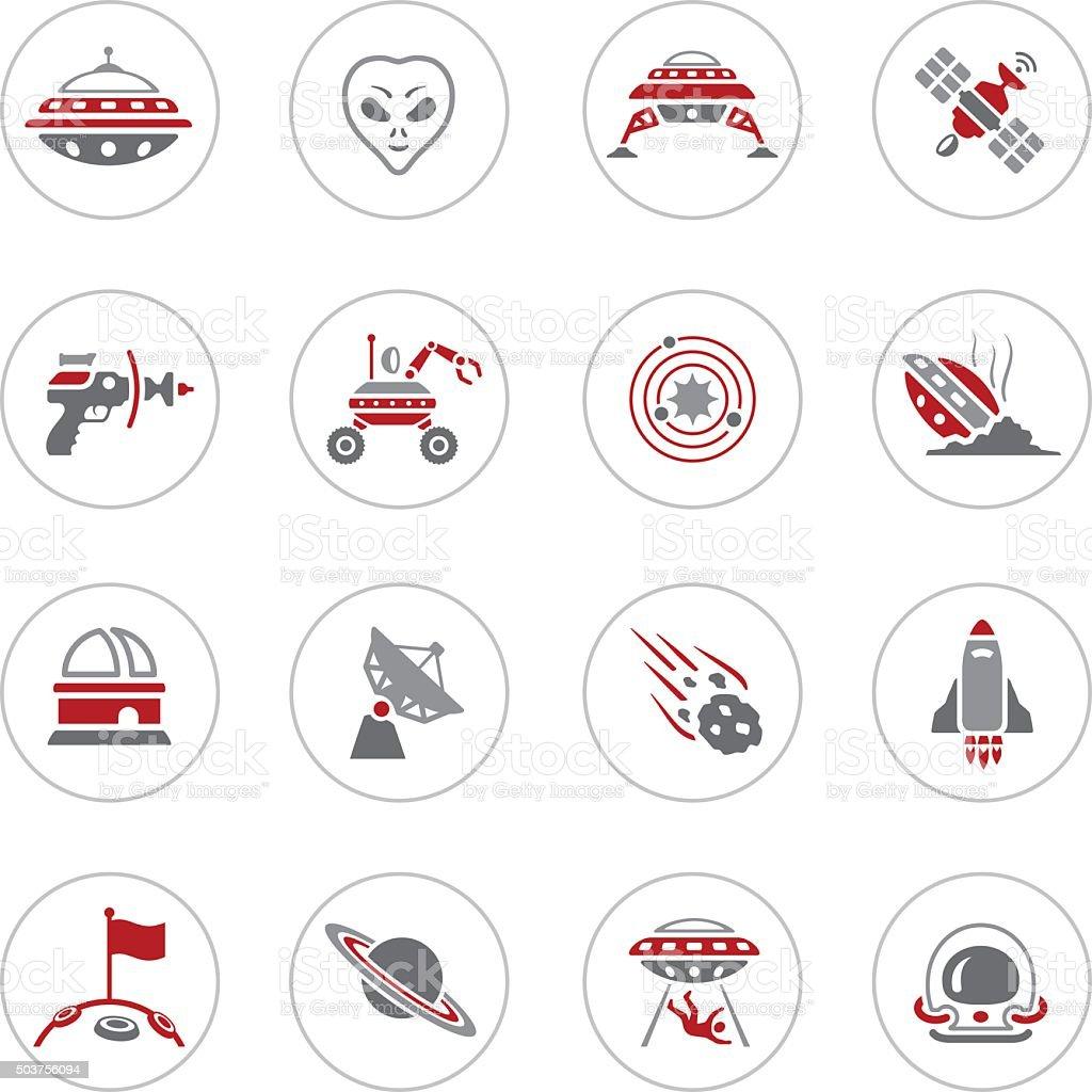 Alien Icons vector art illustration