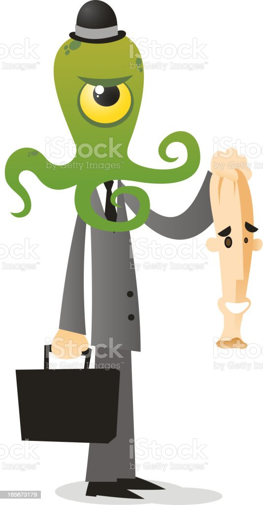 Alien in human disguise royalty-free stock vector art