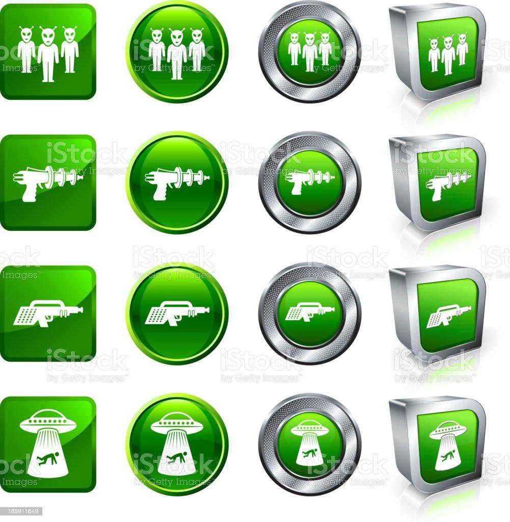 Alien Invasion royalty free vector button set royalty-free stock vector art