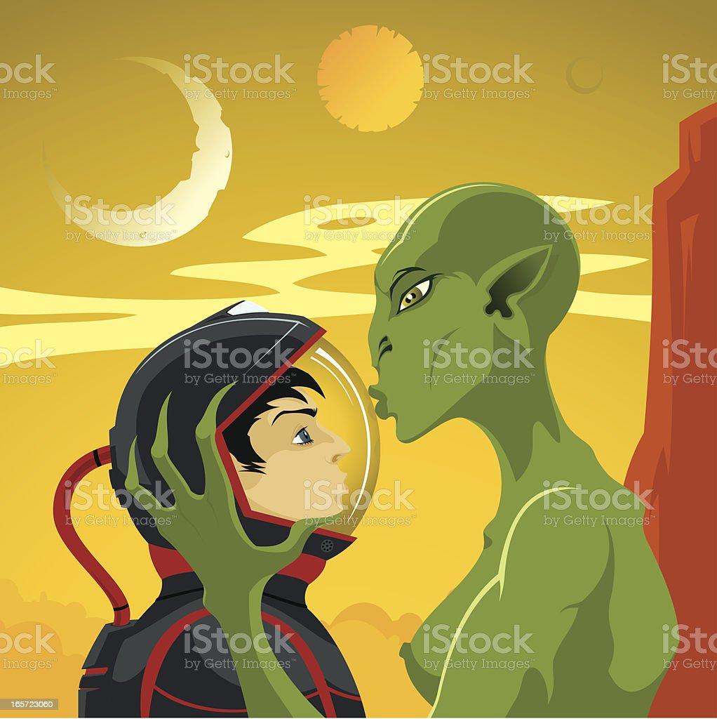 Alien kiss royalty-free stock vector art