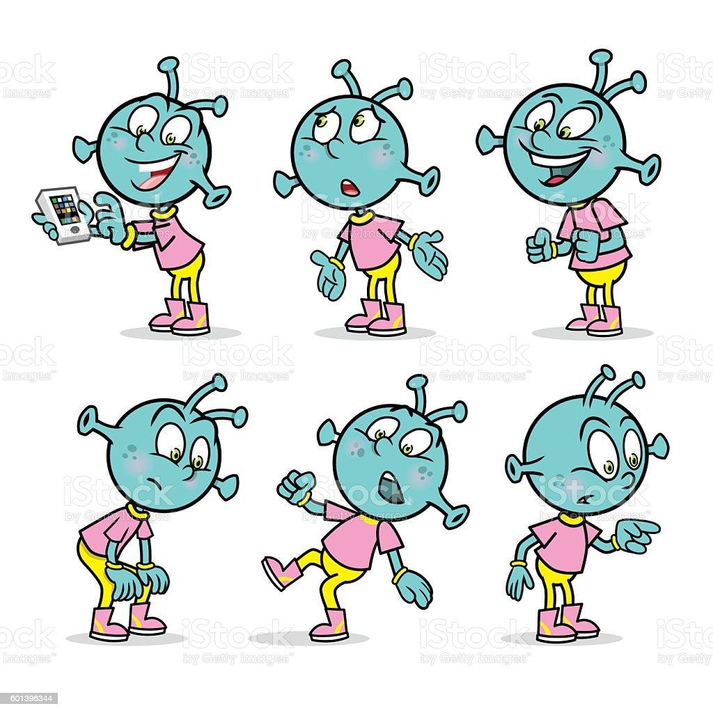 Alien mascot in different poses vector art illustration