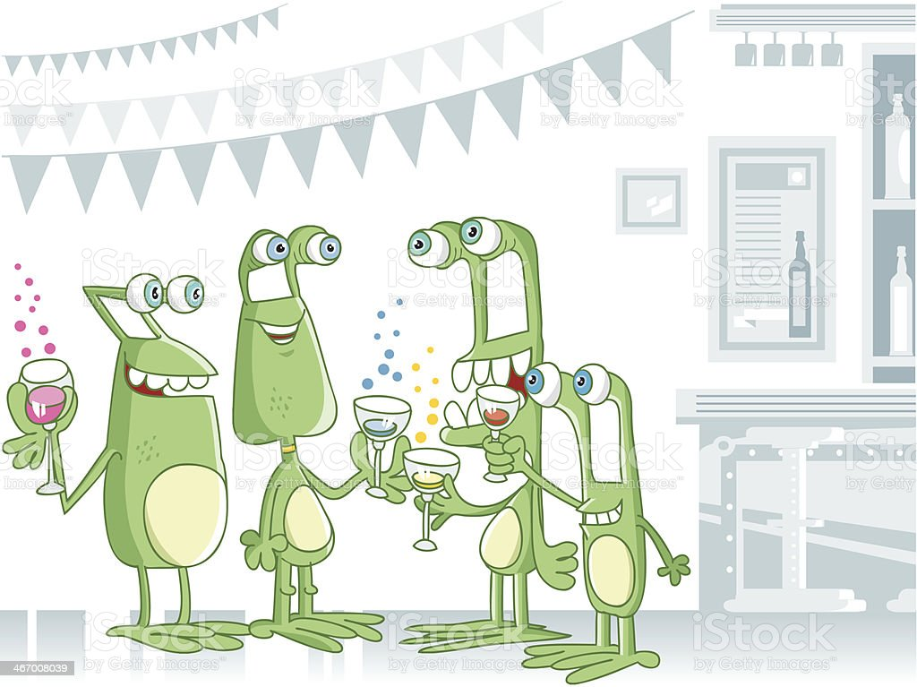 aliens at party royalty-free stock vector art