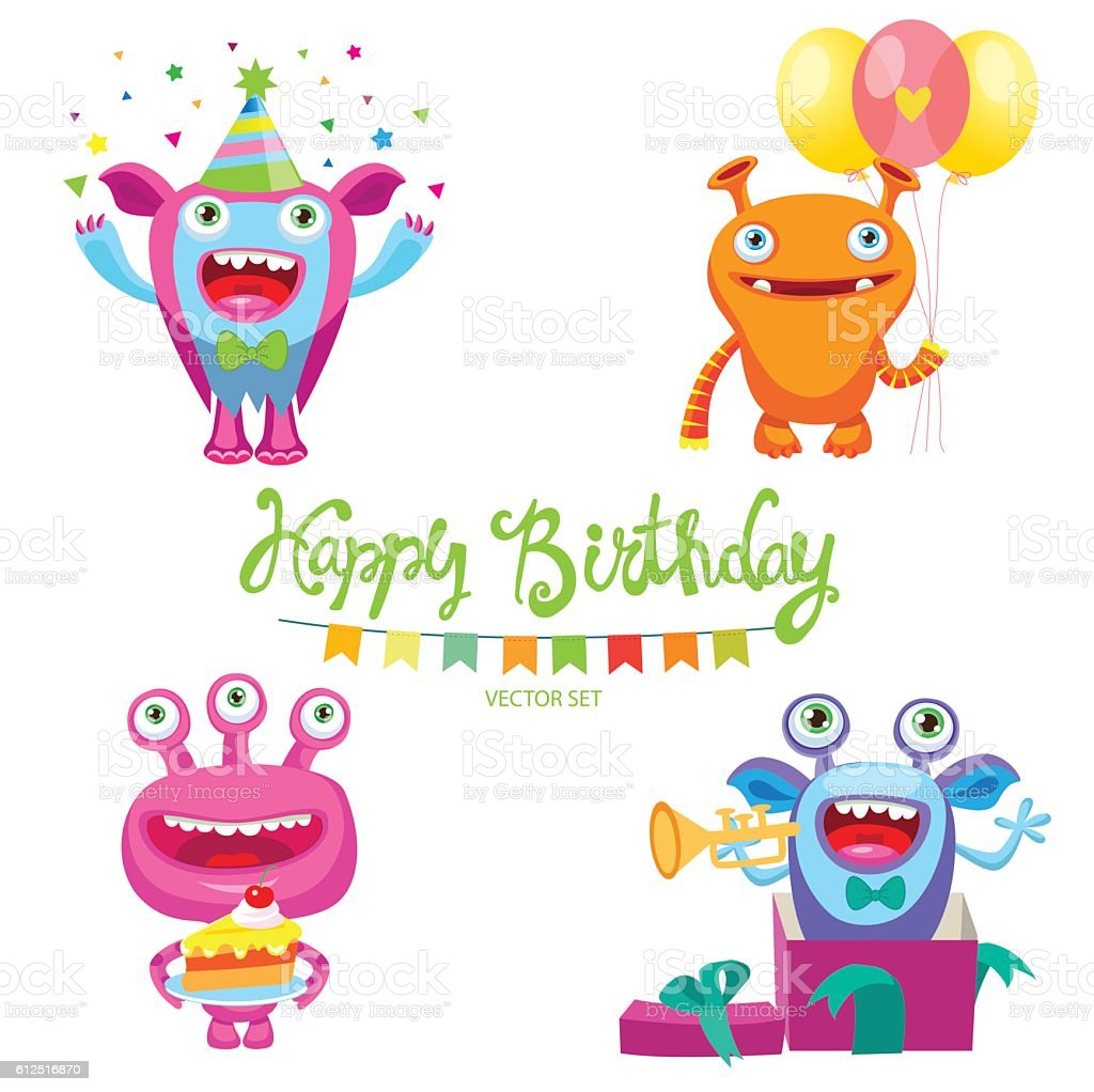 aliens birthday parties space aliens card set of cute monsters