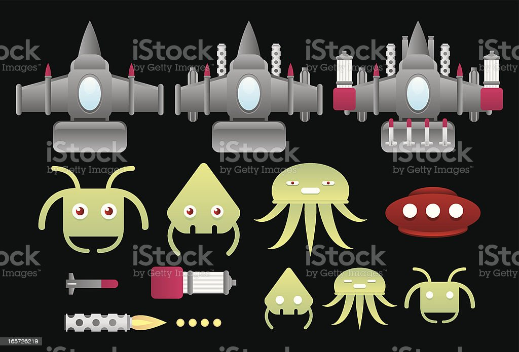 Aliens invaders and space ships vector art illustration