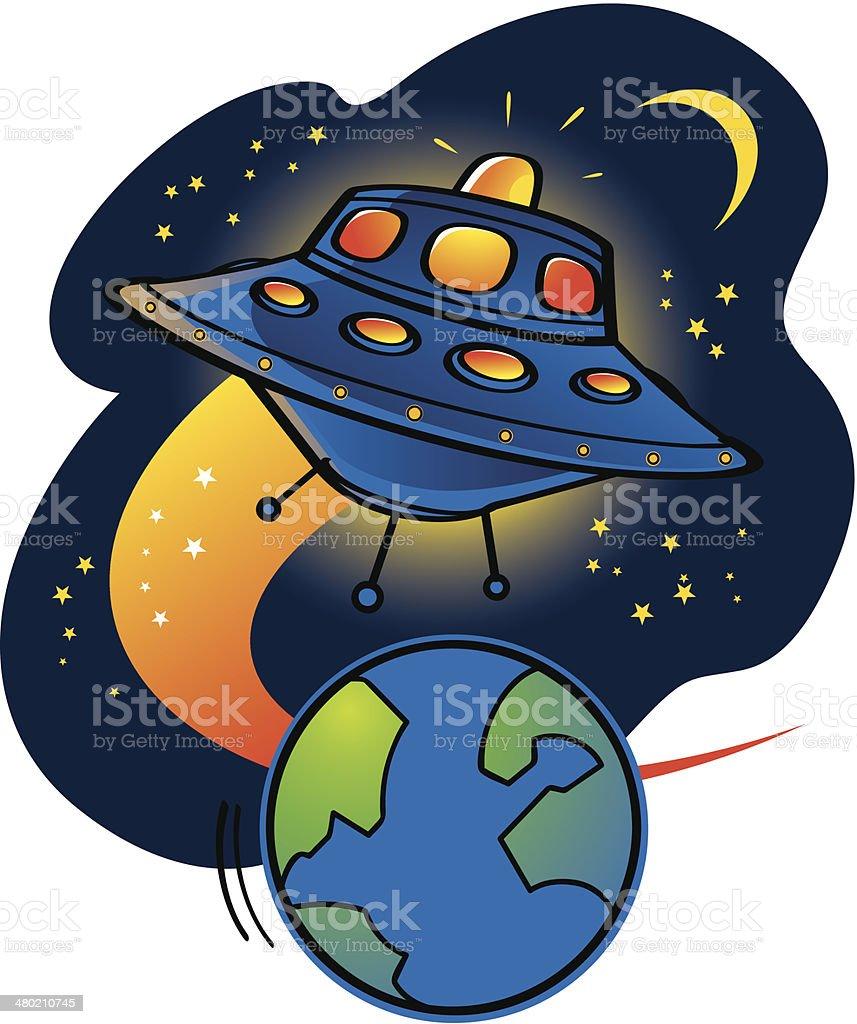 Aliens UFO starship royalty-free stock vector art