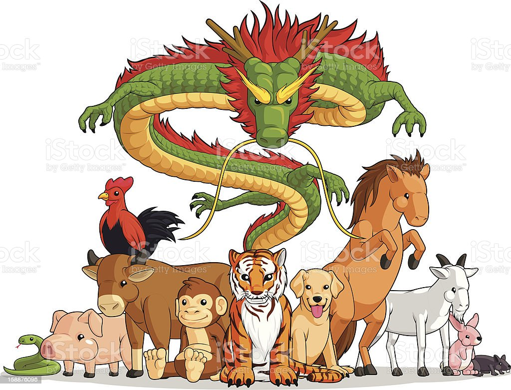 All 12 Chinese Zodiac Animals Together royalty-free stock vector art
