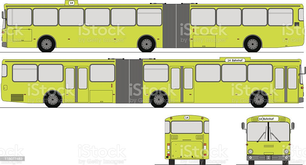 All 4 sides of a sectioned city bus royalty-free stock vector art