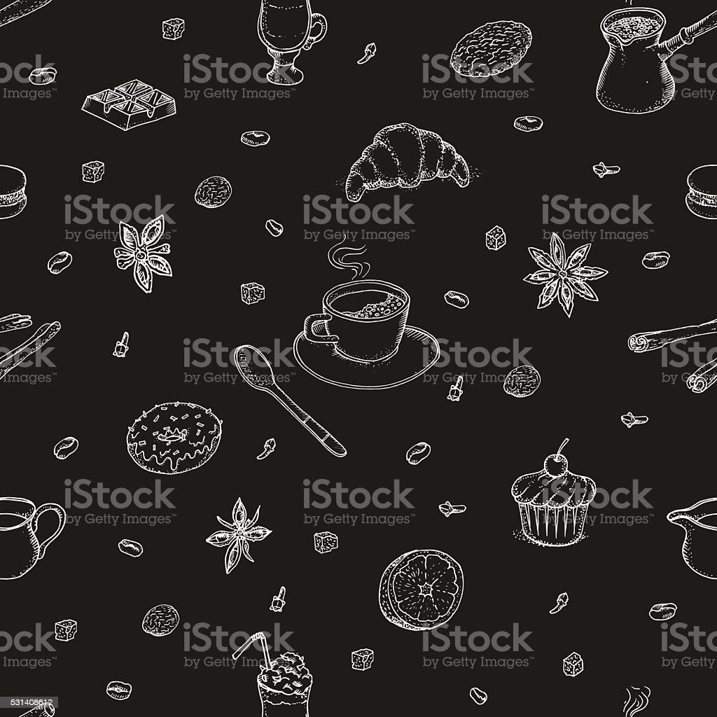 All about coffee. Coffee mill, cezve, coffee mashine, instant coffee. vector art illustration