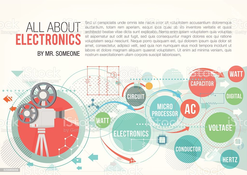All about electronics vector art illustration