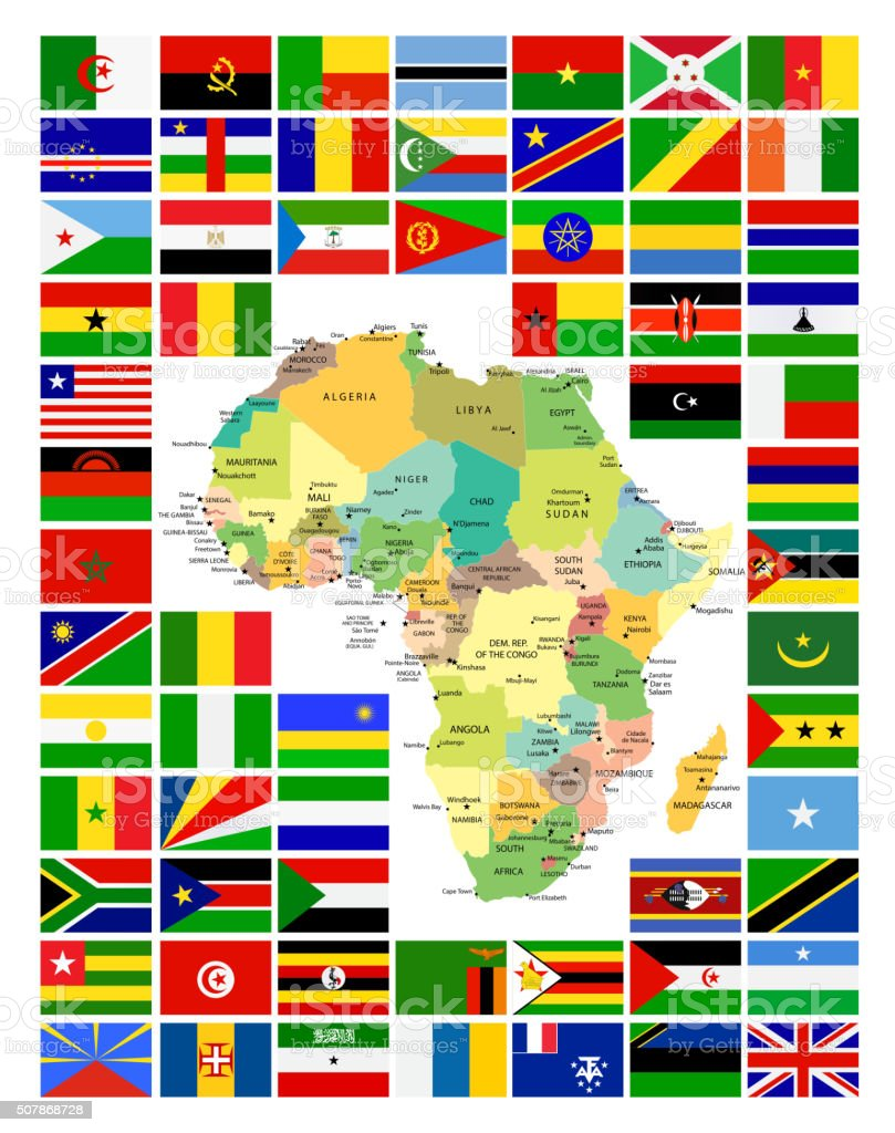 All African Flags Complete Set and It's Map vector art illustration