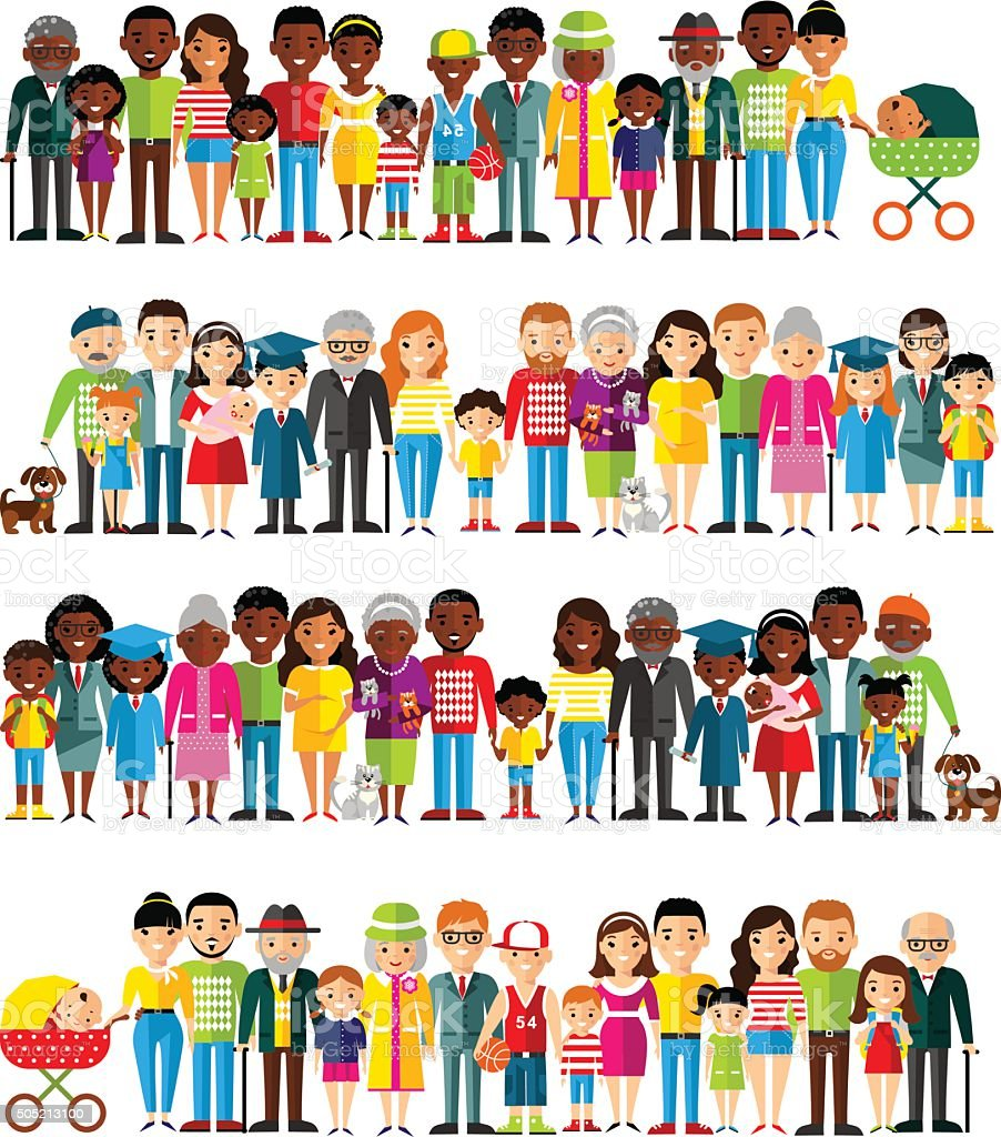 All age group of african american, european people. vector art illustration