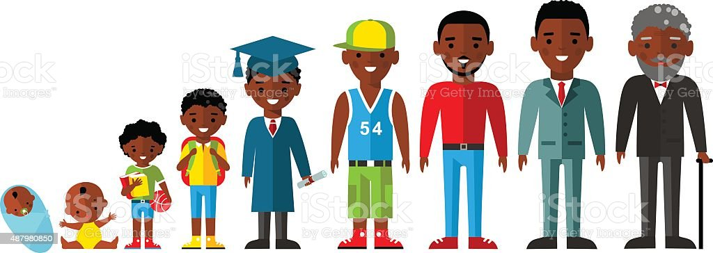 All age group of african american people.Generations man. vector art illustration
