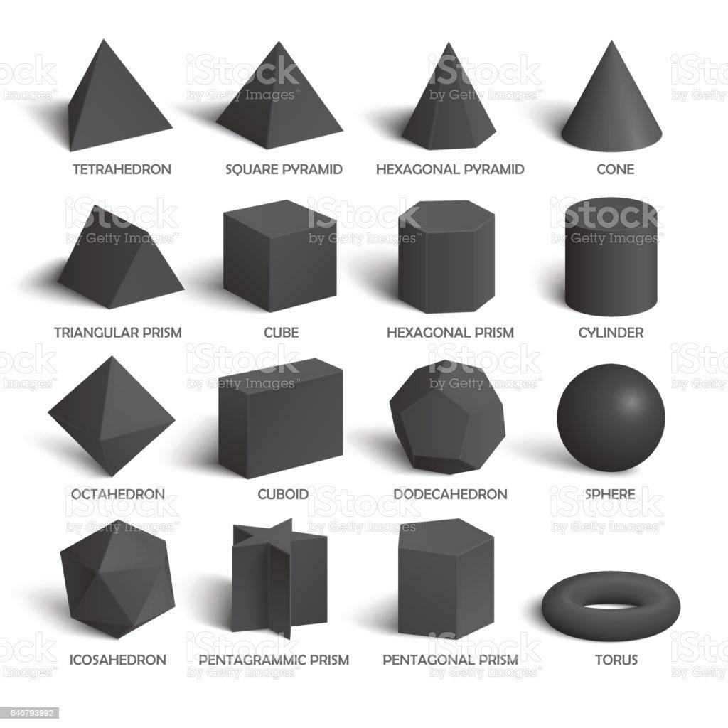 All basic 3d shapes template in dark vector art illustration