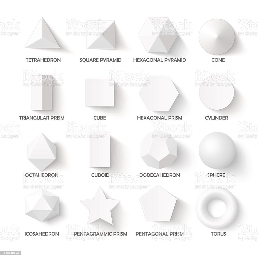 All basic 3d shapes vector art illustration