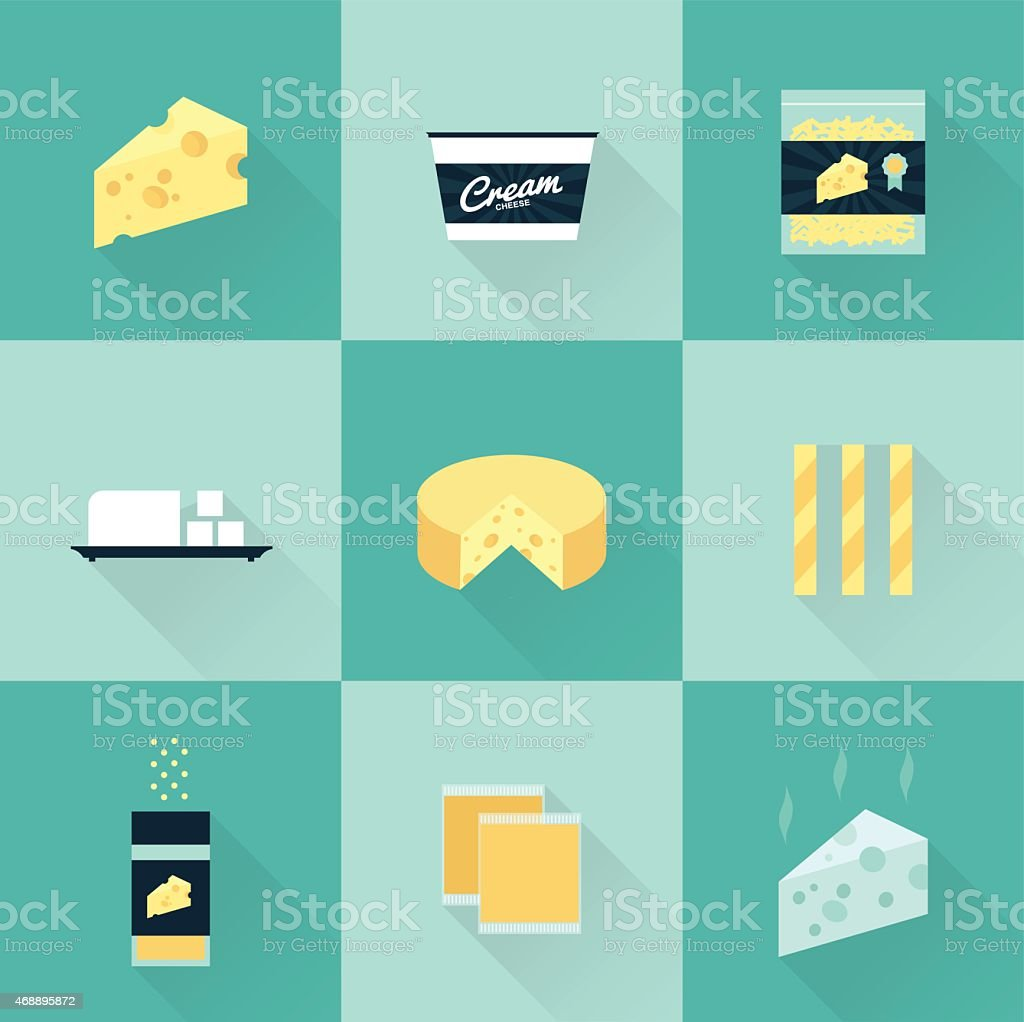 all cheese types icon set vector art illustration