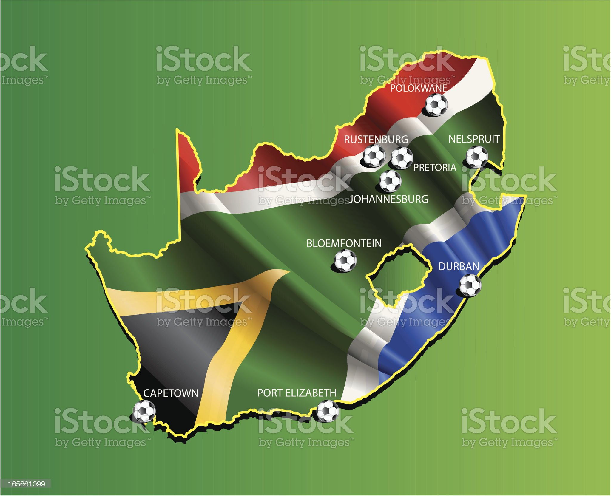All cities of South Africa 2010 world championship royalty-free stock vector art
