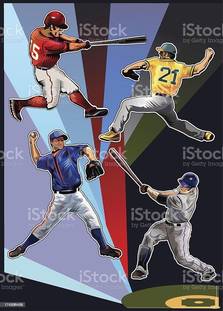 All colors of baseball teams royalty-free stock vector art