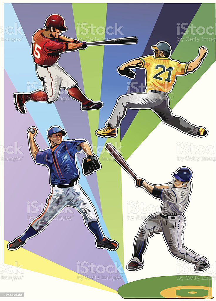 All colors of baseball vector art illustration