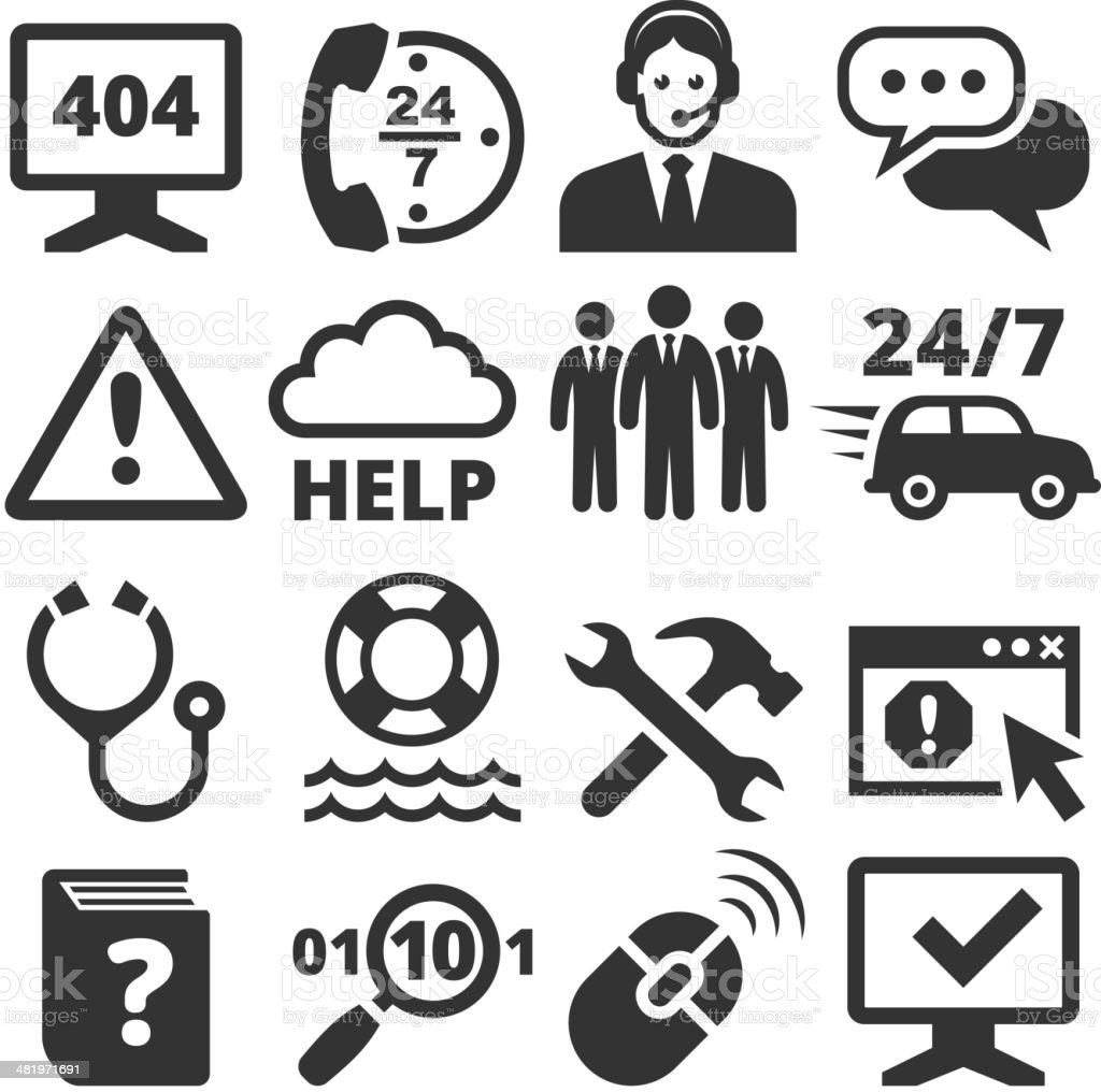 All Day 24/7 Customer Service black and white icon set vector art illustration