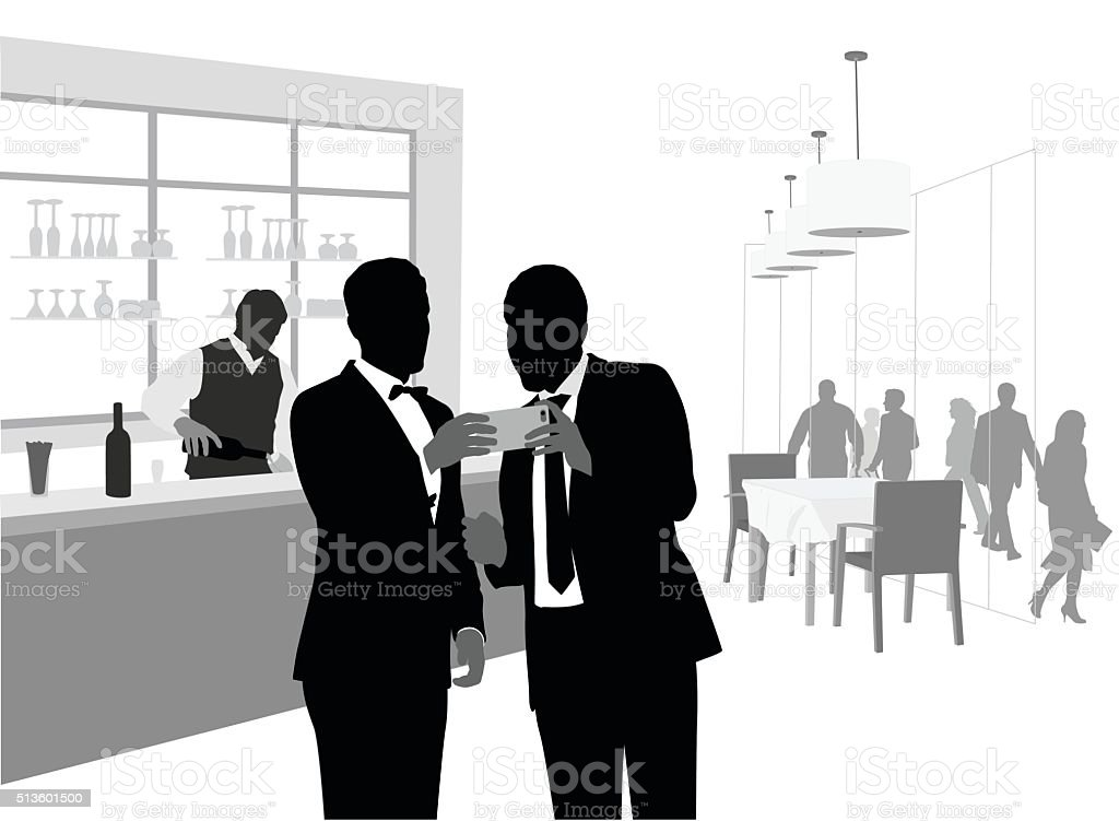 All Dressed Up And Using A Phablet vector art illustration
