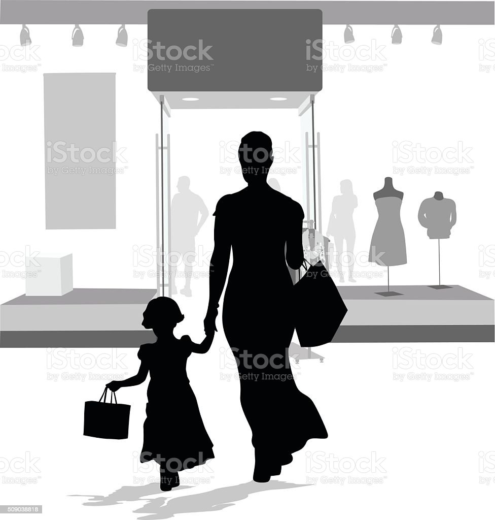 All Dressed Up To Go Shopping With Mom vector art illustration