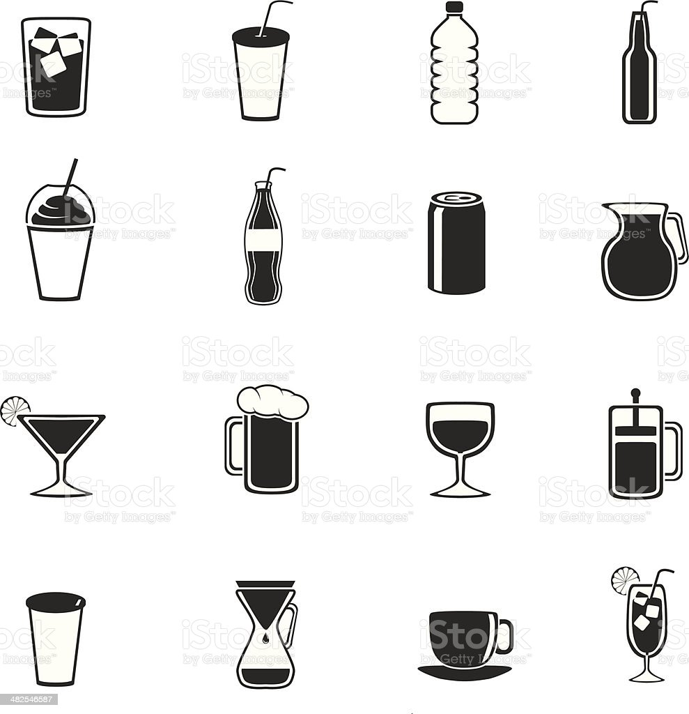 All drinks vector art illustration