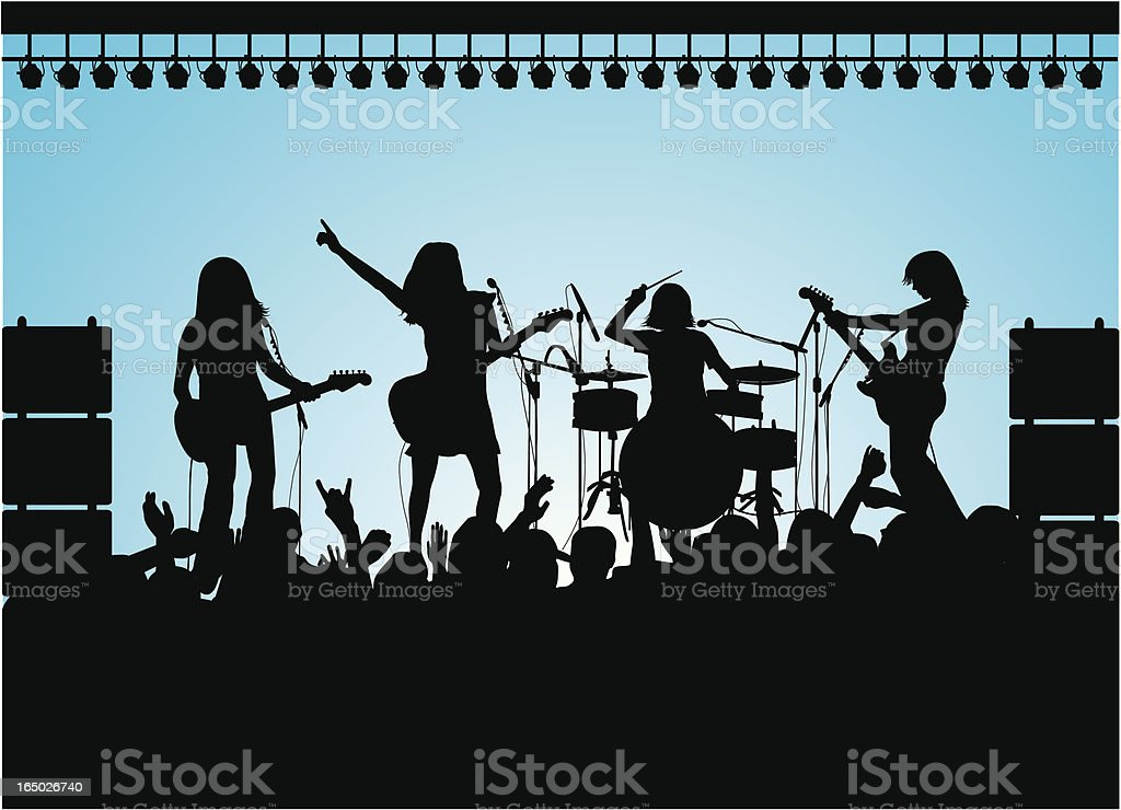 All Female Rock Group ( Vector ) vector art illustration