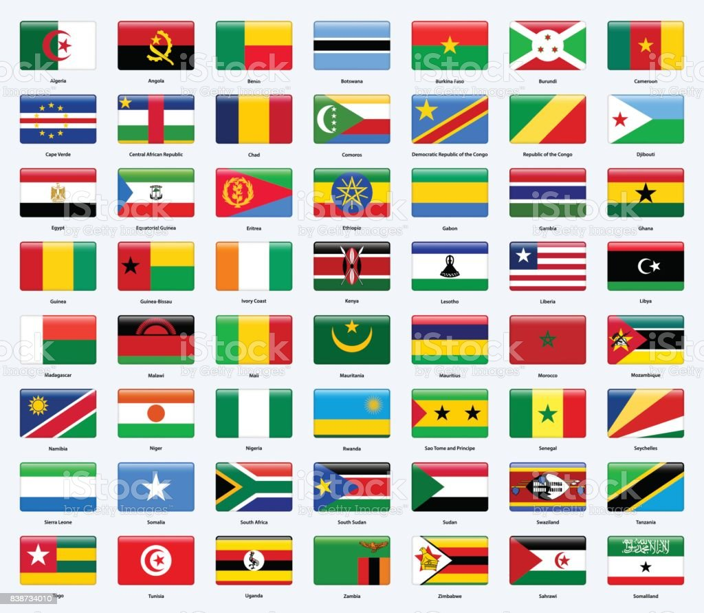 All flags of the countries of Africa. Rectangle glossy style. vector art illustration