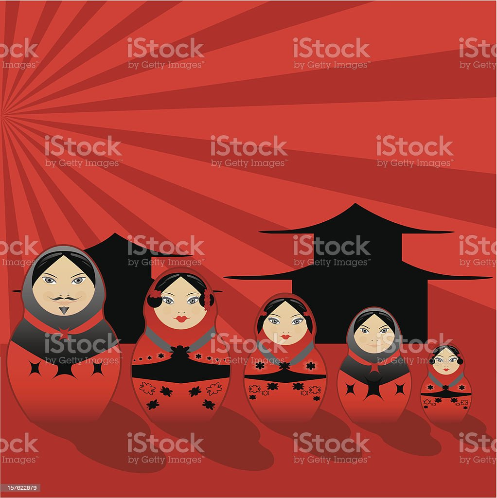 All in one 02, Matrioska family japanese style royalty-free stock vector art