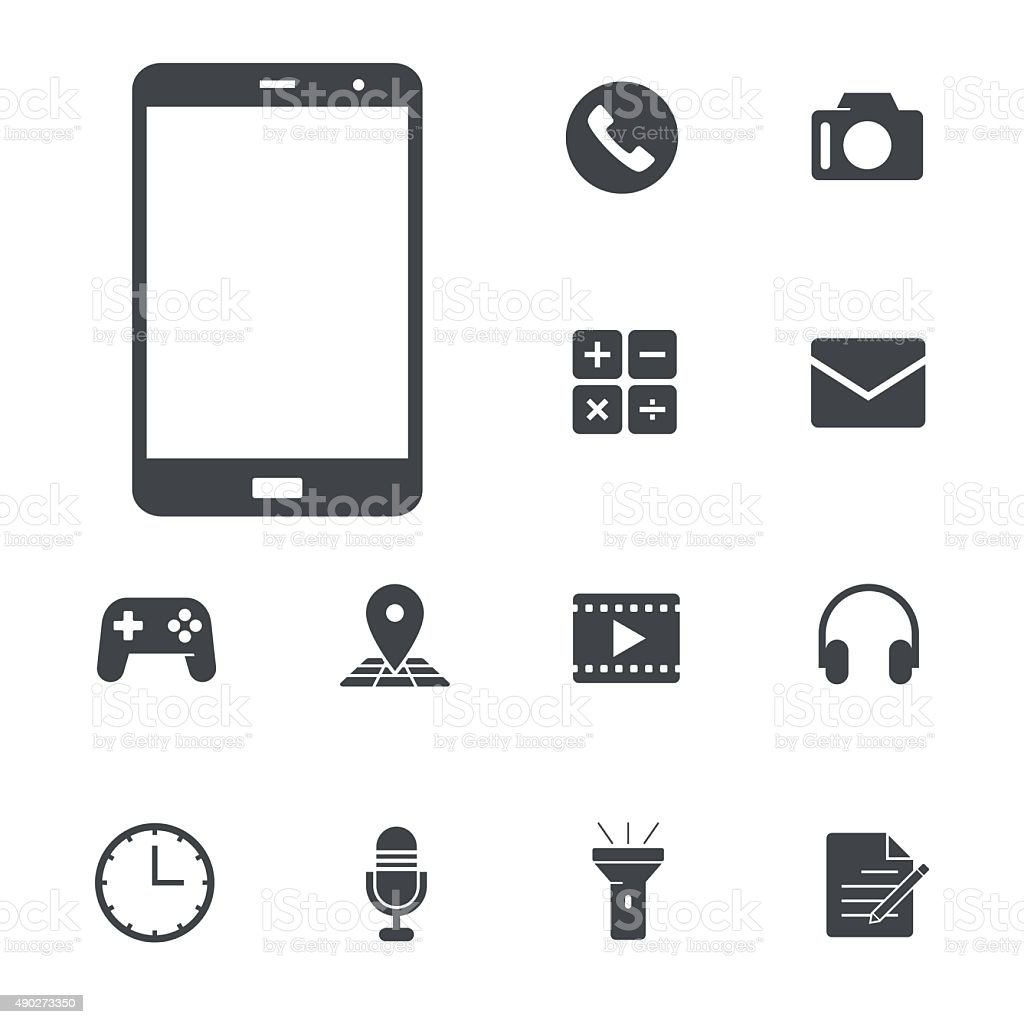 All in one function on one smartphone concept. vector art illustration