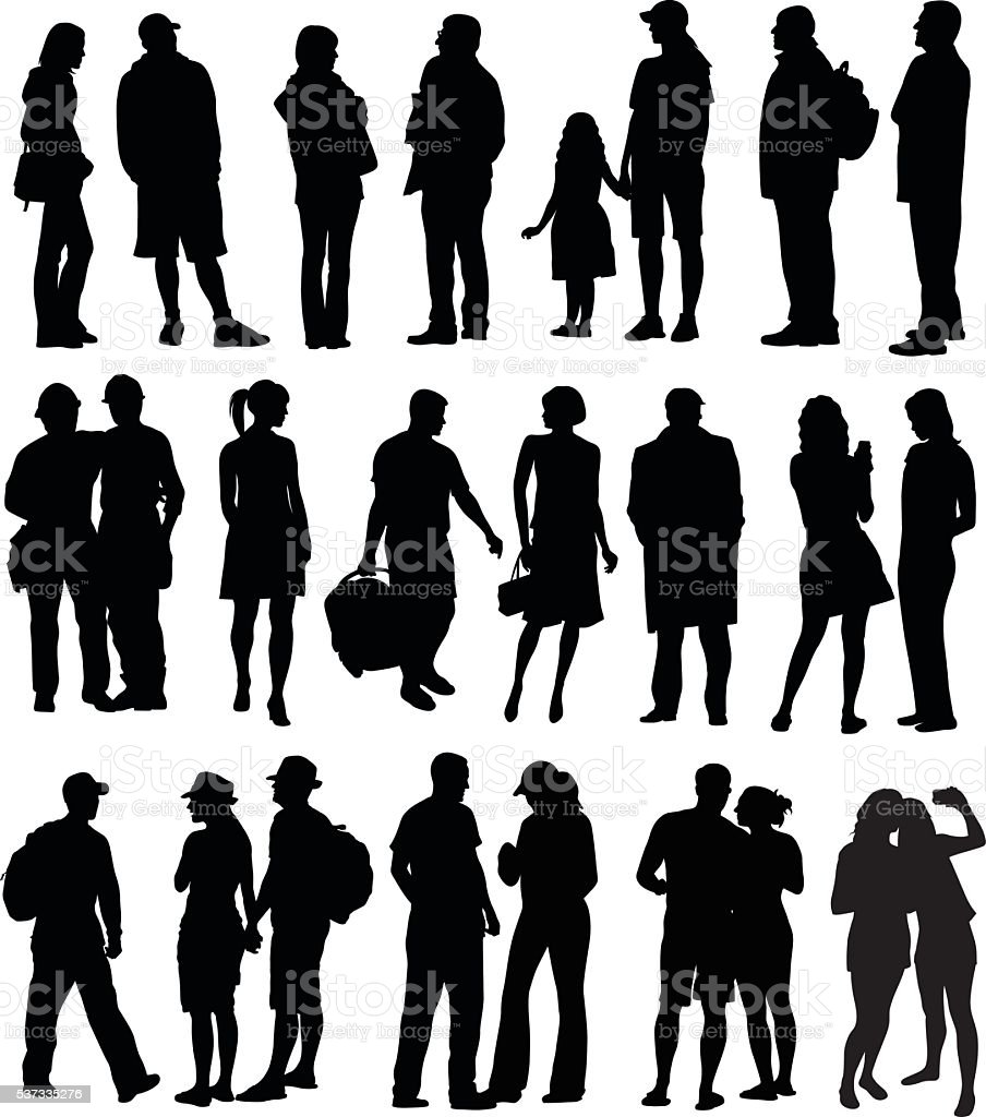 All Kinds Of People Silhouettes vector art illustration