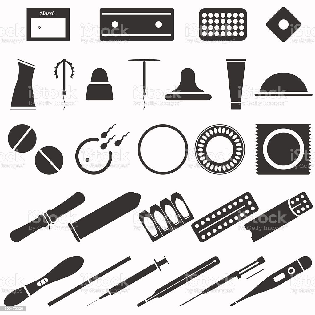 All modern types and contraception methods. Icons. vector art illustration