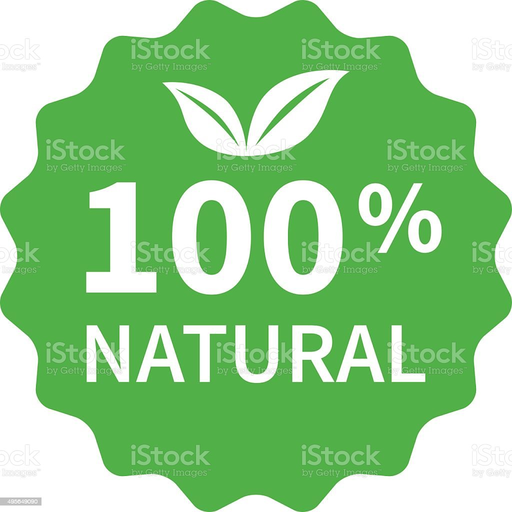 100% all natural stamp, label, sticker flat icon for products vector art illustration