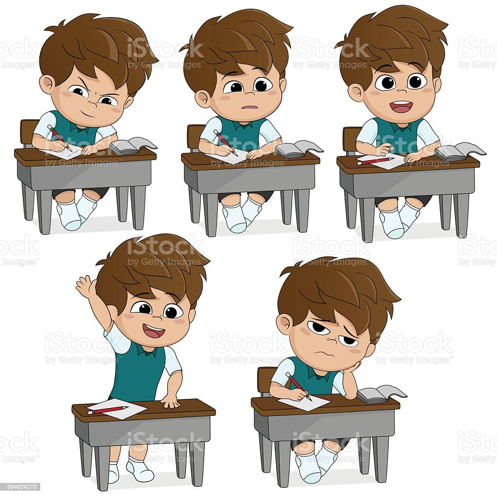 All of kids different pose about learning.back to school. stock vecteur libres de droits libre de droits