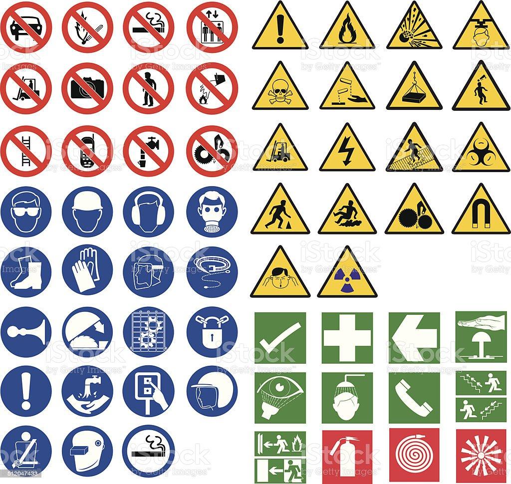 all safety signsall safety signs vector art illustration