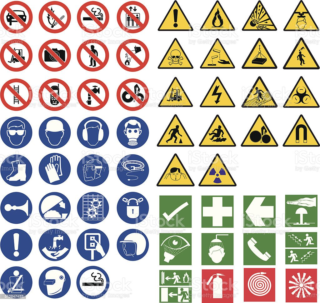 all safety signsall safety signs vector art illustration