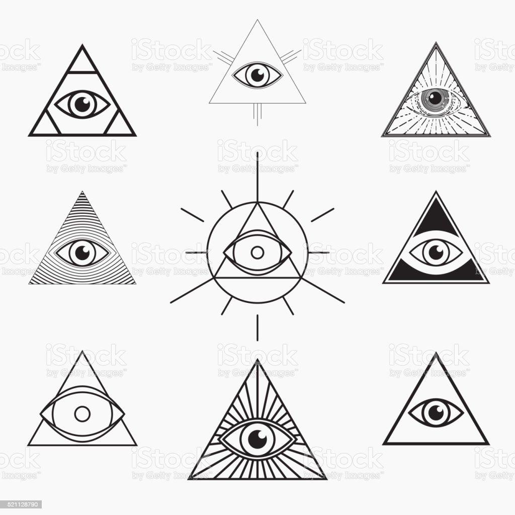 All seeing eye symbol vector art illustration