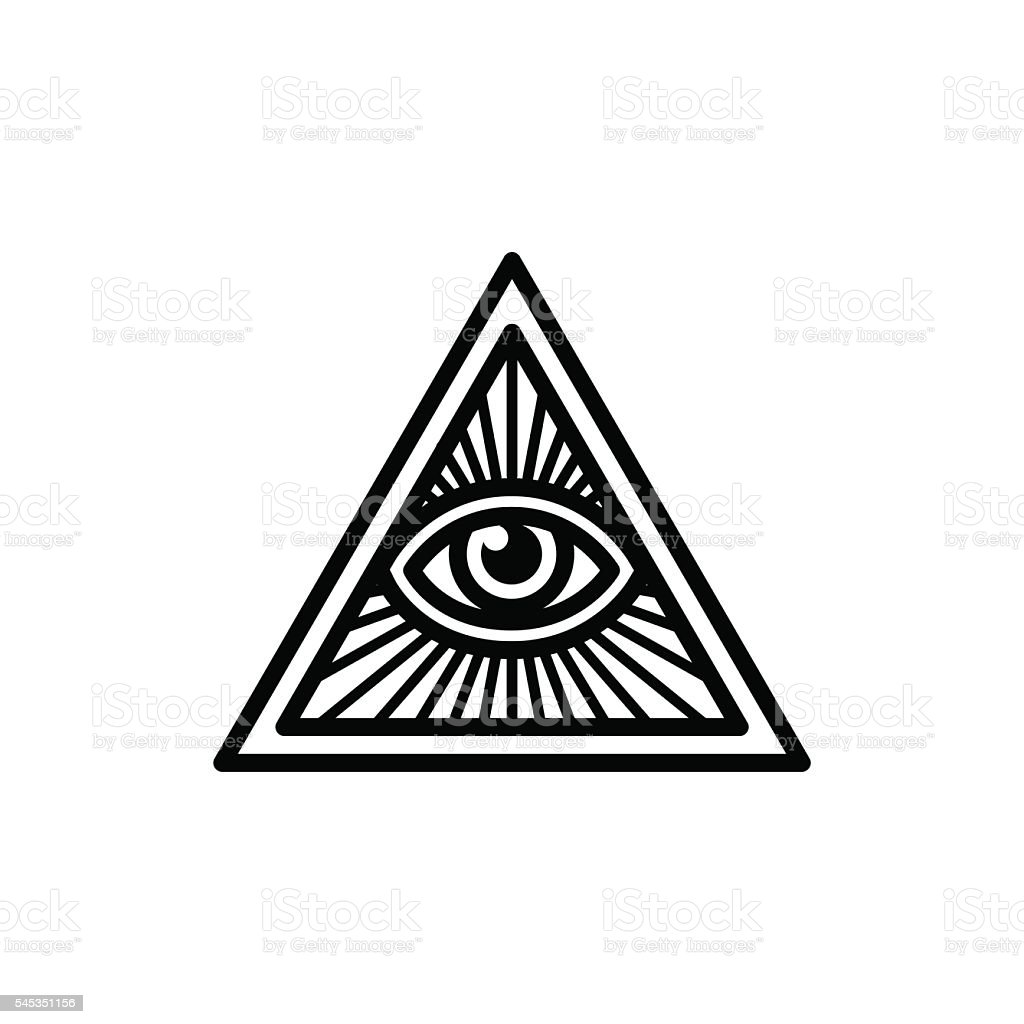 All seeing eye symbol vector art illustration