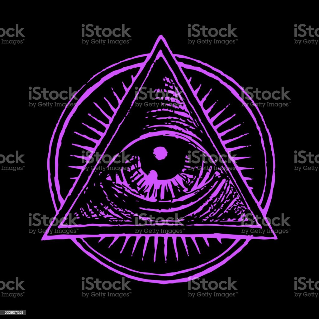 All seeing eye vector art illustration