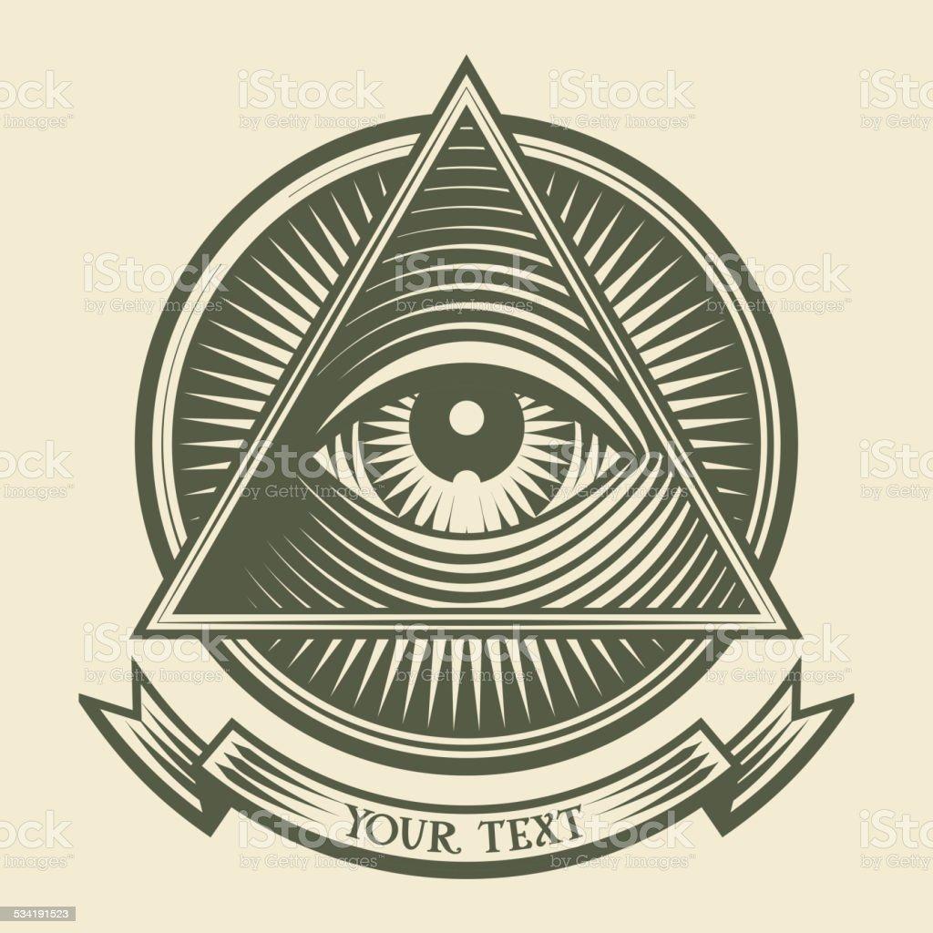 All seeing eye vector art illustration