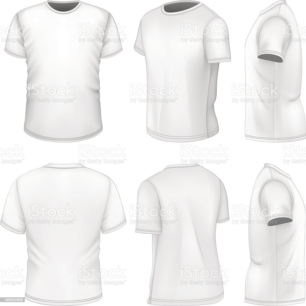 All six views men's white short sleeve t-shirt vector art illustration