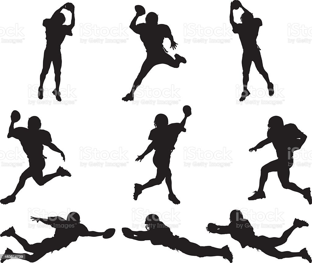 All star football player silhouettes images vector art illustration