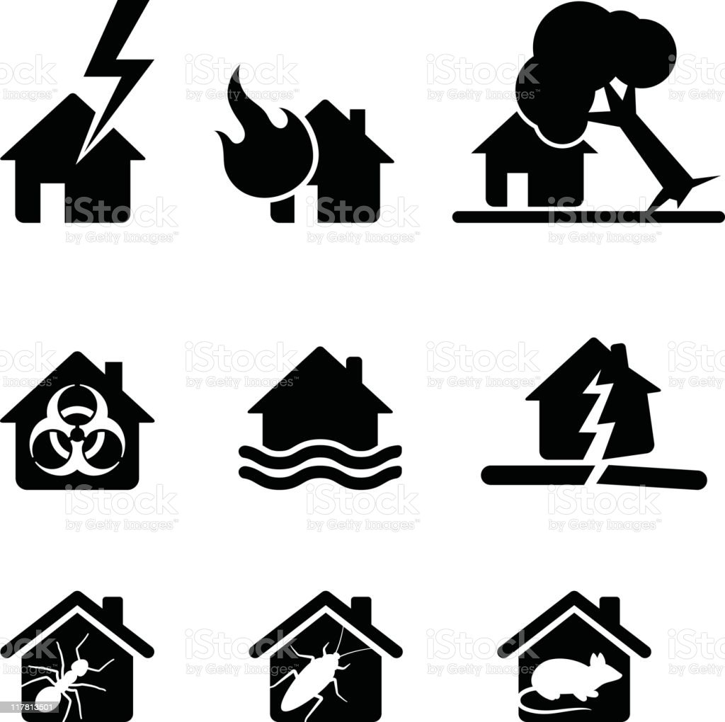 all the things that can go wrong icon set vector art illustration