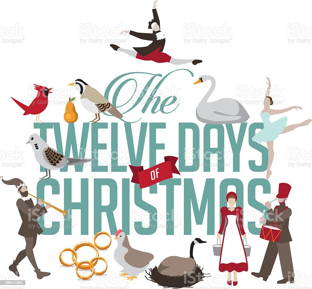 All Twelve days of Christmas vector art illustration