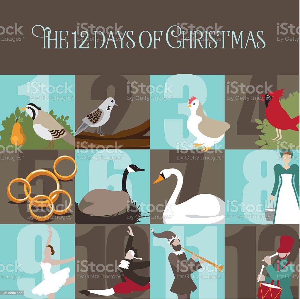 All Twelve days of Christmas vector art illustration