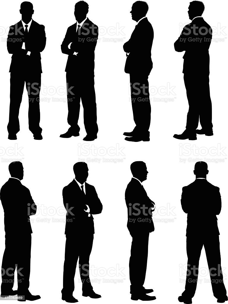 All views of businessman folding his arms vector art illustration