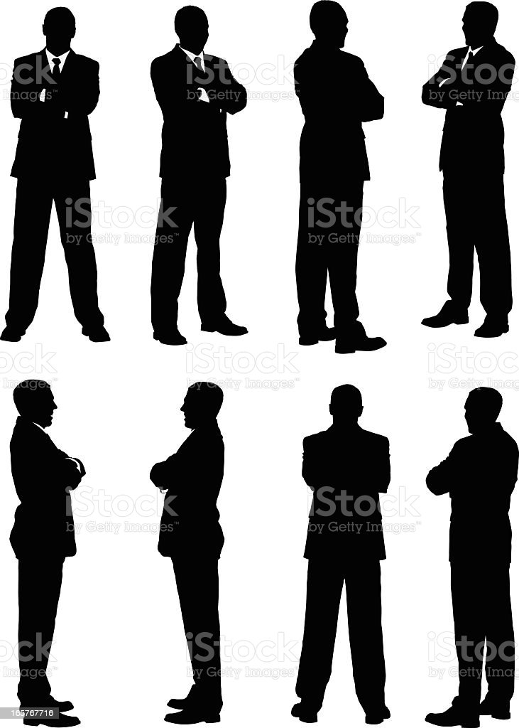 All views of businessman turning royalty-free stock vector art