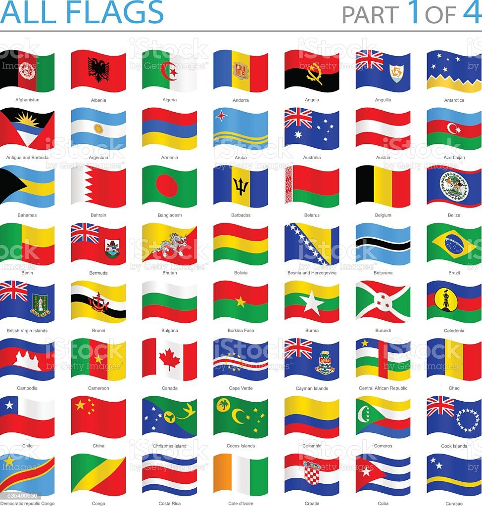 All World Flags - Swung Icons - Illustration vector art illustration