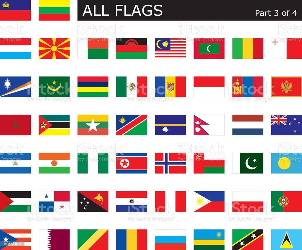 All World Flags vector art illustration