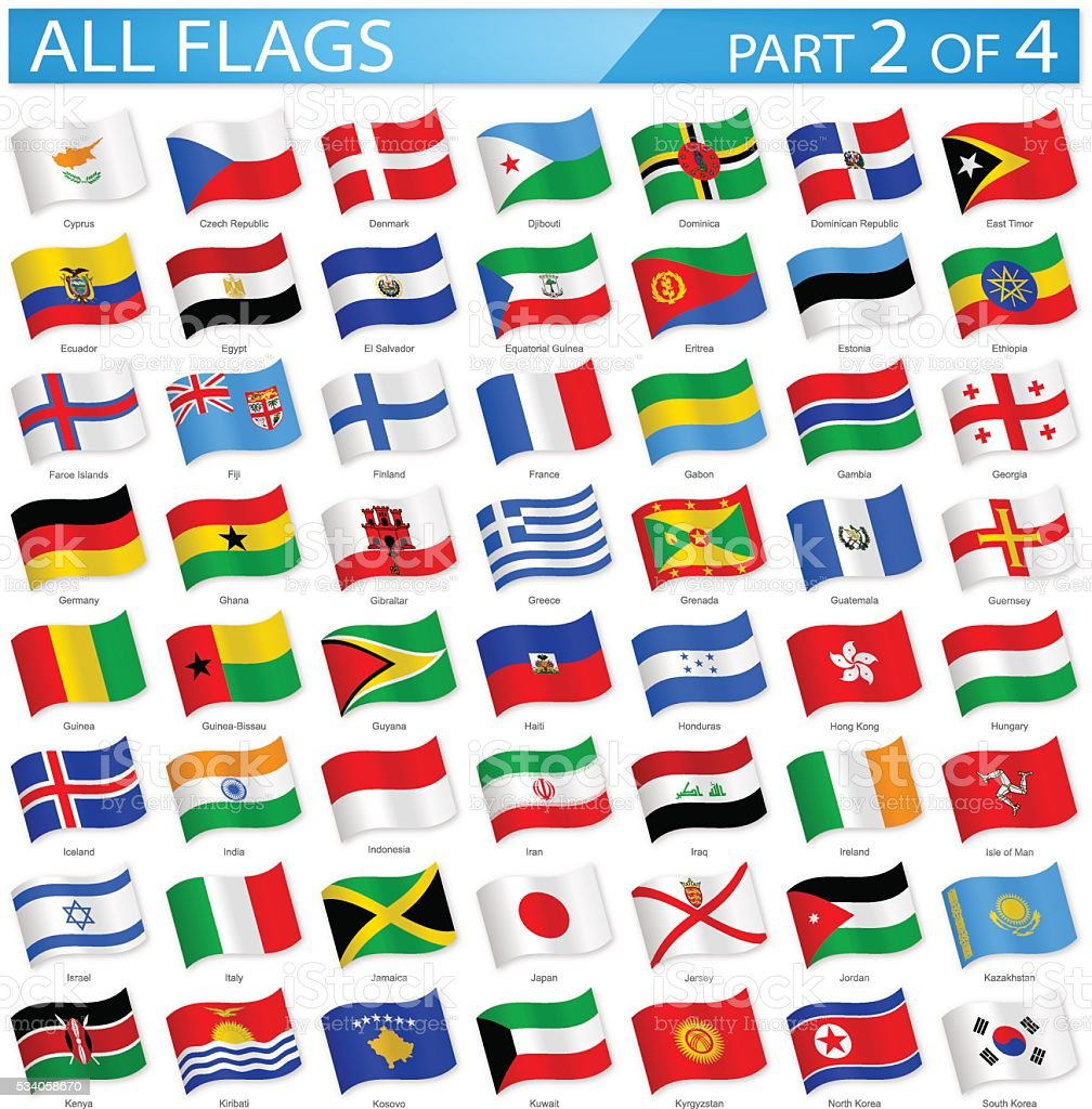 All World Flags - Waving Icons - Illustration vector art illustration